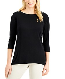 3/4-Sleeve Button-Shoulder Top, Created for Macy's