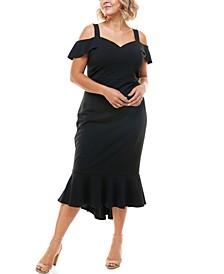 Trendy Plus Size Cold-Shoulder Midi Dress