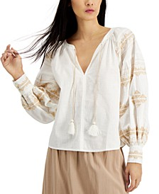 INC Petite Cotton Embroidered Tasseled Top, Created for Macy's