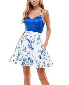 Juniors' Back-Bow Fit & Flare Dress