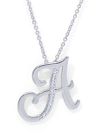"Diamond Accent Initial Pendant Necklace 18"" in Fine Silver Plate"