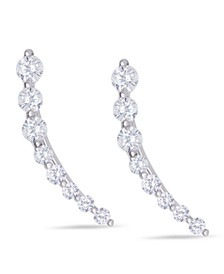 Cubic Zirconia Ear Climber Earrings in Fine Silver Plate