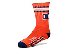 Illinois Fighting Illini Youth 4 Stripe Deuce Crew Socks