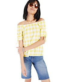 Off-the-Shoulder Gingham Top, Created for Macy's