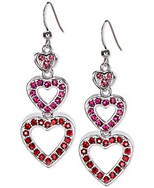 Silver-Tone Pavé Heart Triple Drop Earrings, Created for Macy's