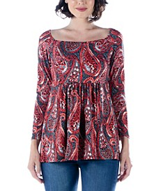 Women's Print Long Sleeve Babydoll Tunic Top