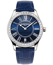 Women's Swiss Classics Diamond (1/2 ct. t.w.) Blue Leather Strap Watch 36mm