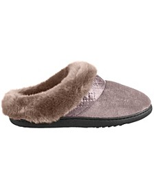 Isotoner Women's Velour Diane Hoodback Faux Fur Slipper