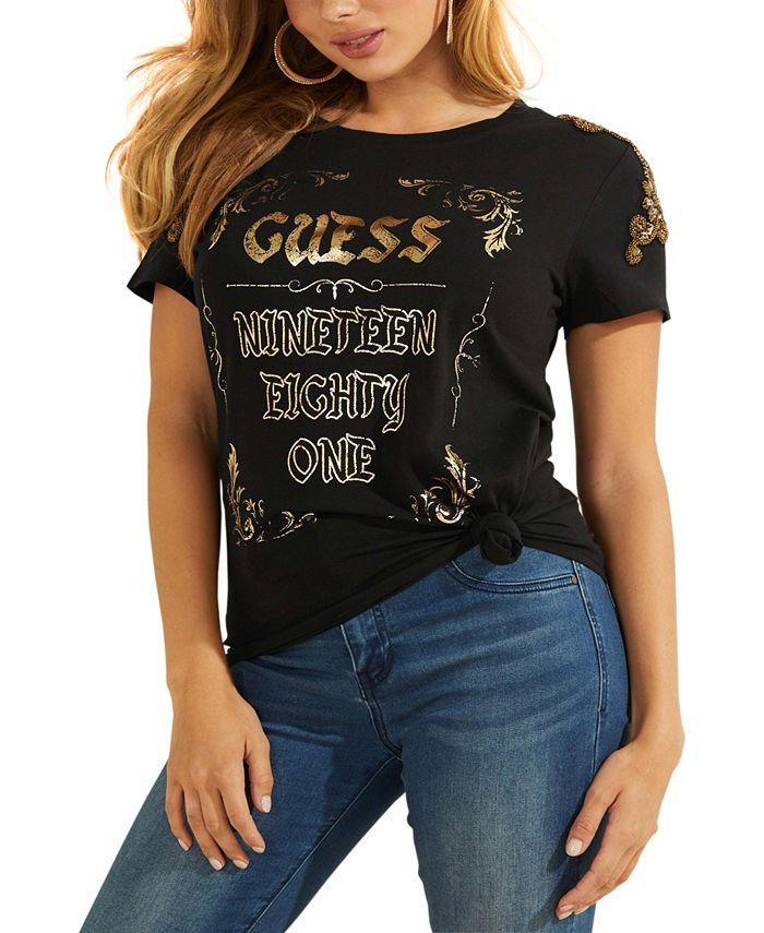 GUESS - Vintage Logo Embellished Shoulder T-Shirt