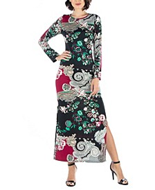 Women's Paisley Long Sleeve Fitted Maxi Dress