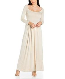 Women's Empire Waist Long Sleeve Maxi Dress