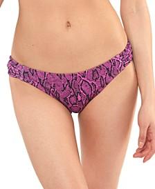 Snakecharmer Ruched-Tab Hipster Bikini Bottoms