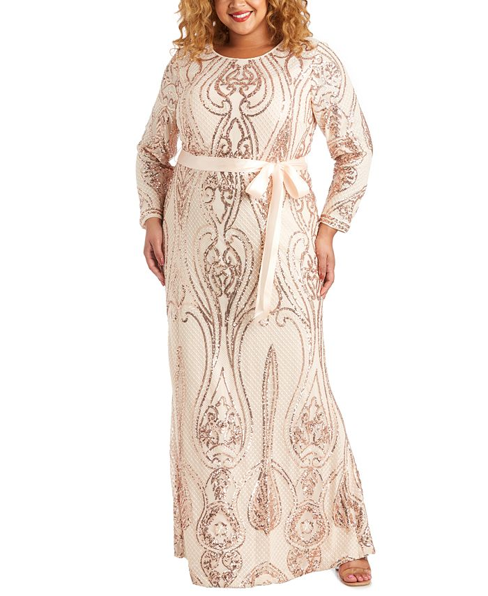 R & M Richards - Plus Size Embellished Open-Back Gown