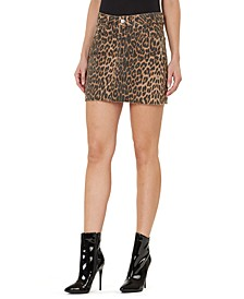 Leopard-Print Frayed-Hem Denim Mini Skirt