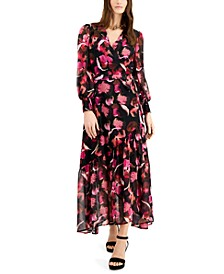 Printed Faux-Wrap Maxi Dress, Created for Macy's