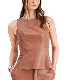 Faux-Leather Peplum Top, Created for Macy's