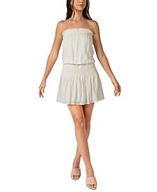 Juniors' Strapless Smocked Dress
