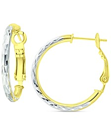 """Small Textured Hoop Earrings in Sterling Silver & 18k Gold-Plate, 1"""", Created for Macy's"""