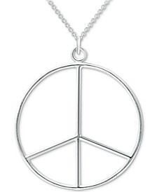 "Peace Sign 18"" Pendant Necklace in Sterling Silver, Created for Macy's"