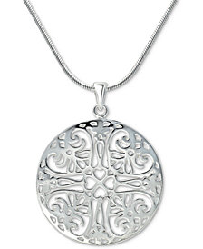 """Giani Bernini Flower Filigree 18"""" Pendant Necklace in Sterling Silver, Created for Macy's"""