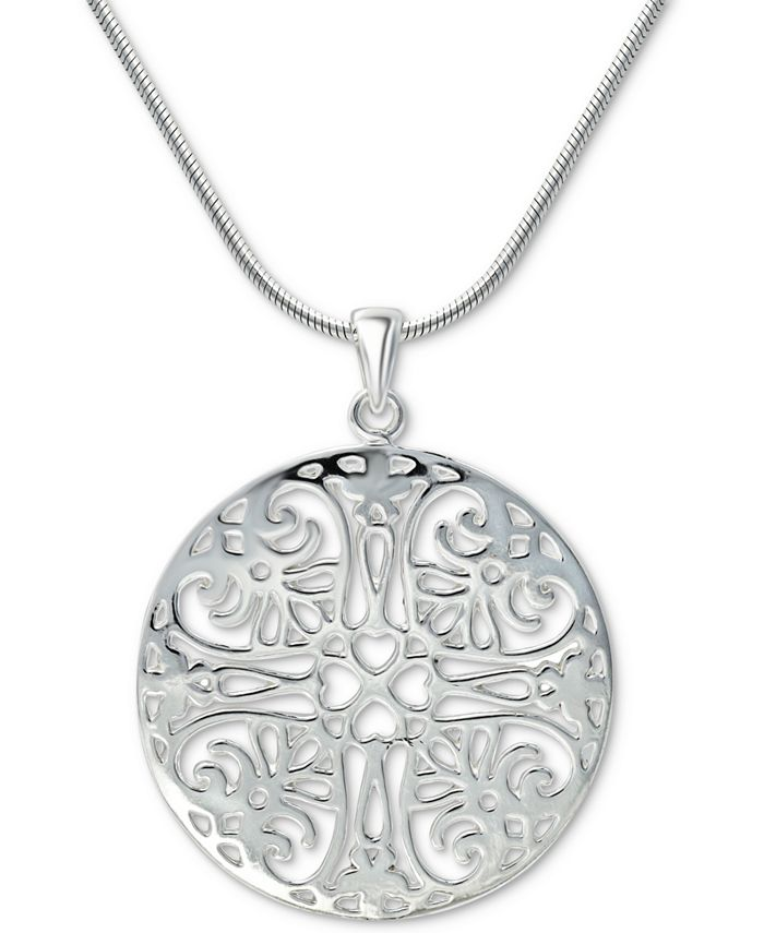 "Giani Bernini - Flower Filigree 18"" Pendant Necklace in Sterling Silver"