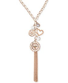 "Rose Gold-Tone Woven Charm Lariat Necklace, 30"" + 2"" extender"