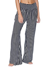 Juniors' Beach Day Striped Cover-Up Pants