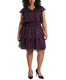 Trendy Plus Size Foil-Print Fit & Flare Dress