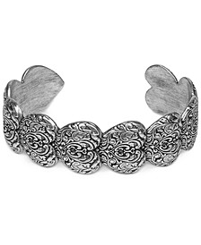 Silver-Tone Stacked Tooled Heart Cuff Bracelet
