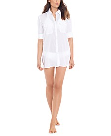 Crushed Cotton Cover-Up Shirt