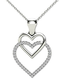 "Diamond Double Heart 18"" Pendant Necklace (1/10 ct. t.w.) in 10k White Gold"