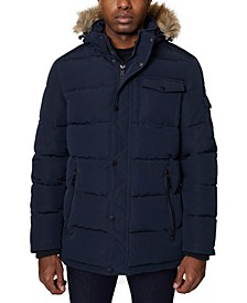 Men's Parka with Removable Faux-Fur Trimmed Hood