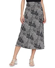 Printed A-Line Midi Skirt