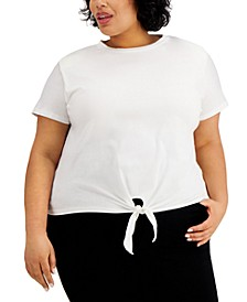 INC Plus Size Cotton Shoulder-Pad Tie-Front Top, Created for Macy's