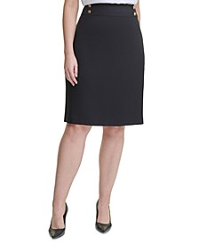 Plus Size Button-Trim Pencil Skirt
