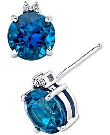 Blue Topaz (3-3/4 ct. t.w.) & Diamond Accent Stud Earrings in Sterling Silver