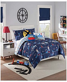 Kids All Aboard Reversible Twin Comforter Set, 2 Piece