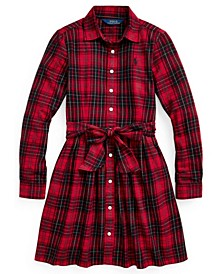 Toddler Girls Plaid Cotton Twill Shirt Dress