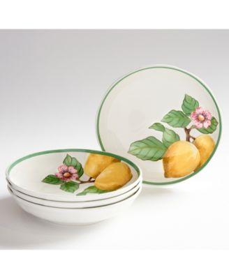 French Garden Modern Lemons Pasta Bowls set of 4