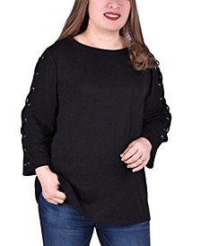 Women's Plus Size Laced Sleeve Top