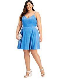Plus Size Glittering Fit-and-Flare Dress