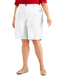 Plus Size Top-Stitched Shorts, Created for Macy's
