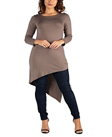 Women's Plus Long Sleeve Knee Length Asymmetrical Tunic Top