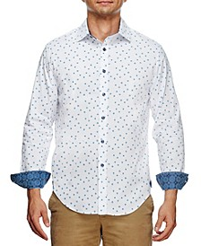 Men's Slim Fit Flower Geo Print Long Sleeve Shirt and a Free Face Mask
