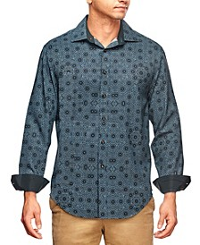 Men's Slim Fit Kaleidoscope Print Long Sleeve Shirt and a Free Face Mask