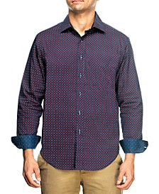 Men's Slim Fit Houndstooth Print Long Sleeve Shirt and a Free Face Mask