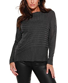 Black Label Metallic Novelty Stitch Pullover Sweater