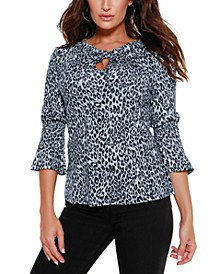 Women's Black Label Ruffle Neck with Bell Sleeve Top