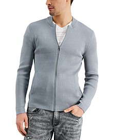 INC Men's Regular-Fit Ribbed-Knit Full-Zip Bomber Cardigan, Created for Macy's