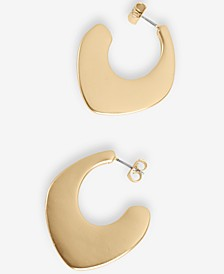 Gold-Tone Modern Open Hoop Earrings
